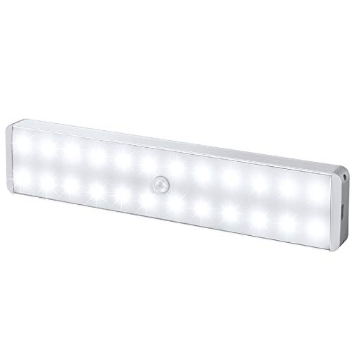 LED Closet Light, 24-LED Newest Version Rechargeable Motion Sensor Closet Light Under Cabinet Wireless Stick-Anywhere Night Light Bar with Large Battery for Stairs,Wardrobe,Kitchen,Hallway ( 1 Pack)