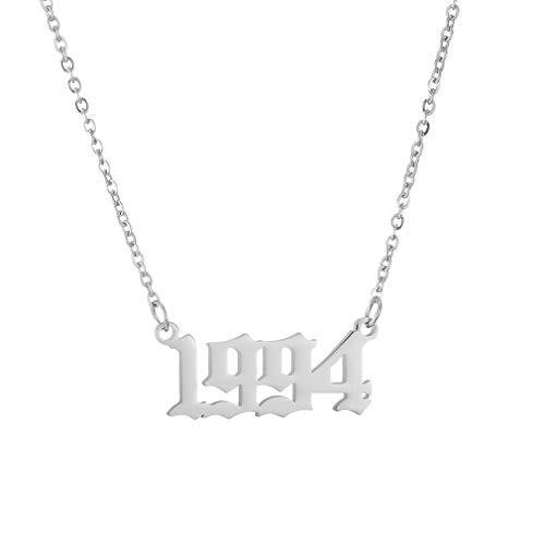 AFSTALR Damen Halskette mit Geburtsjahr Personalisierte Namenskette Tochter Schwester Freunde Geburtstagsgeschenk 1994 Silber