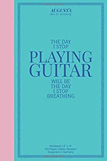 """The day I stop playing guitar will be the day I stop breathing: Notebook   (6"""" x 9"""")   Music Notation   120 Pages   Design..."""