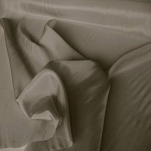 TOLKO 1m Futterstoff | Futter-Taft als Dekostoff universal Stoff zum Nähen Dekorieren | Blickdicht knitterarm | 150cm breit Modestoff Hochzeitsstoff Kleiderstoff Kostümstoff Meterware (Feld Grau)