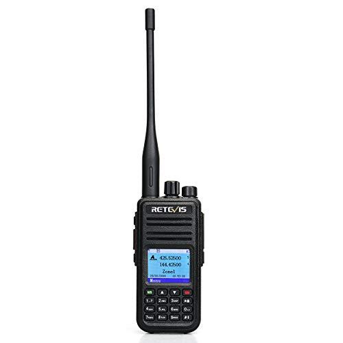 Retevis RT3S DMR Funkgeräte, GPS Dualband Amateurfunk, 3000 Kanäle DTMF Aufnahmefunktion, Digitales/Analoges Handfunkgerät, Kompatibel mit MOTOTRBO TierⅠ& Ⅱ (1 STK, Schwarz)