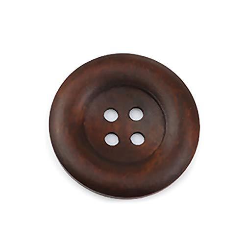 Sadingo - Botones de Madera marrón, Botones para Manualidades, Botones Grandes, Botones Marrones, Botones Naturales, Botones Decorativos, 30 Unidades, 35 mm