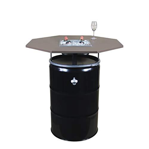 Rogge´s RelaxGrill Partytisch Okto – Stehtisch mit integriertem Getränkekühler – Biertisch, Gartentisch, Ölfass-Tisch