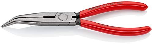 KNIPEX 26 21 200 Flachrundzange mit Schneide (Storchschnabelzange) schwarz atramentiert mit Kunststoff überzogen 200 mm