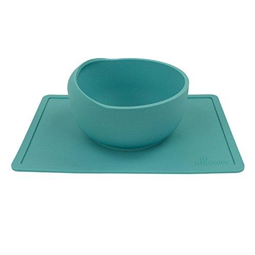 Modaliv Schüssel mit Silikon-Tischset-Saugnapf (1000 ml) – rutschfest – kein Verschütten – lebensmittelechtes Silikon – spülmaschinen- und mikrowellengeeignet