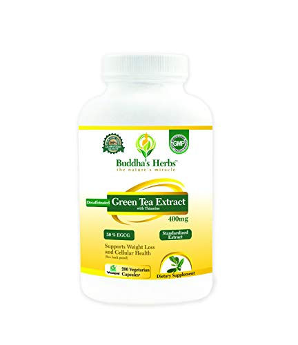 Decaffeinated Green Tea Extract - 400mg (50% EGCG) - 200 Veg Capsules for Weight Loss - Independently Laboratory Tested