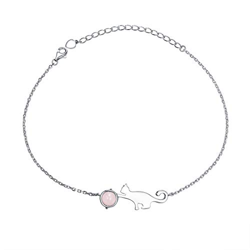 SILVERCUTE Cute Cat Plays Pink Crystal Anklet, 22CM+5CM(Extend Chain) Length, 1.5MM Wide Chain, Kitty Charm, 925 Sterling Silver Animal Women Jewellery Rolo Chain Cat Anklet Bracelet (with Gift Box)