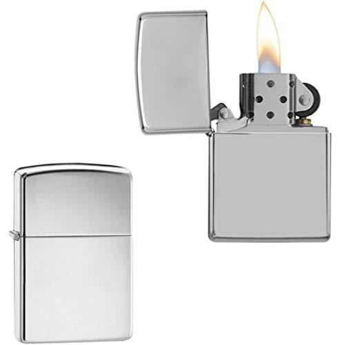 Isqueiro de bolso metal prata recarregável fluído presente