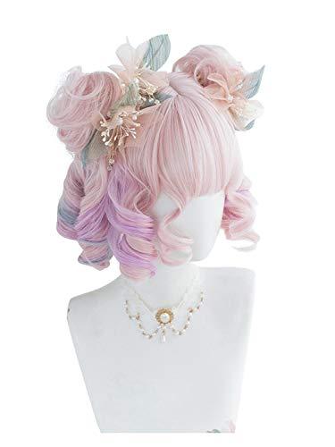 Perruque Femmes 30CM Lolita rose mignon mixte pourpre Ombre bouclés Princesse Bangs Bob cheveux cosplay perruque synthétique Buns Postiches