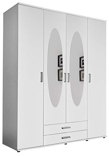lifestyle4living Kleiderschrank mit Spiegel, Weiß, 160 cm | Drehtürenschrank 4 türig mit 2 Schubladen im klassischen Stil