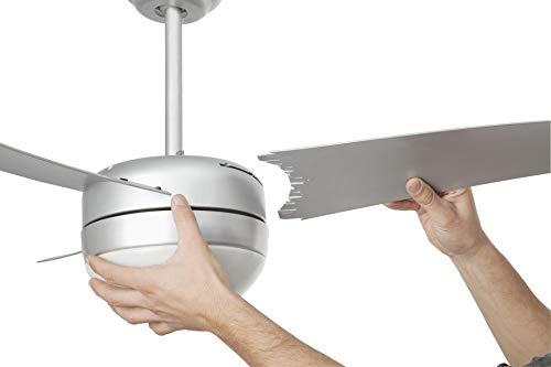Faro Barcelona 33416 - EASY Ventilador de techo con luz, 15W, acerp. 3 palas de abs y difusor de cristal opal, color gris