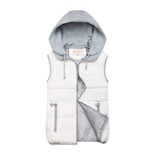 Zegeey Damen Westen Weste Hoodie Jacke Herbst Winter Warme Bequem Outwear Einfarbig Kapuzenpullover Kapuzenpullover、(Weiß,38 DE/M CN)