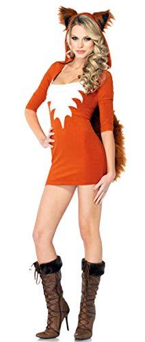 GEMVIE Disfraz Cat Women Vestido para Mujer Sexy Falda Cosplay Gato con Accesorio Cola Halloween Carnaval Party Naranja