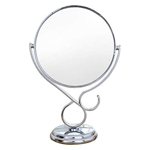 LQY Espejo De Maquillaje con Soporte, Espejo Cosmético De Escritorio Doble Cara, Portátil, Giratorio 360 Grados, Espejo De Tocador HD, Espejo De Aumento De 3X para Hombres,Plata