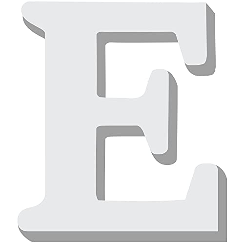 Tatuo Wooden Letters Large Wood Alphabets 5.9 Inch White DIY Capital Letter Decors for Home Wall Party Crafts Education Projects Making Supplies (Letter E)