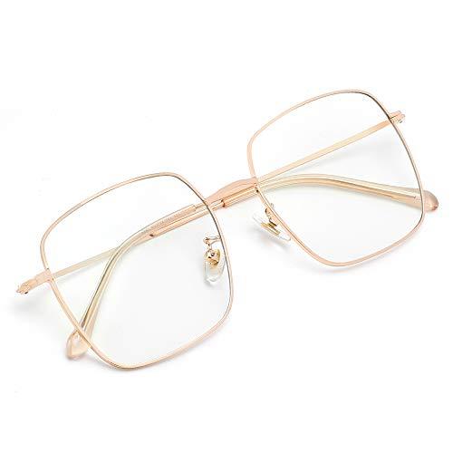 Cyxus Blaulichtfilter Brille, Retro Vintage Groß Quadratische Computer Gold Brillen für Damen Herren