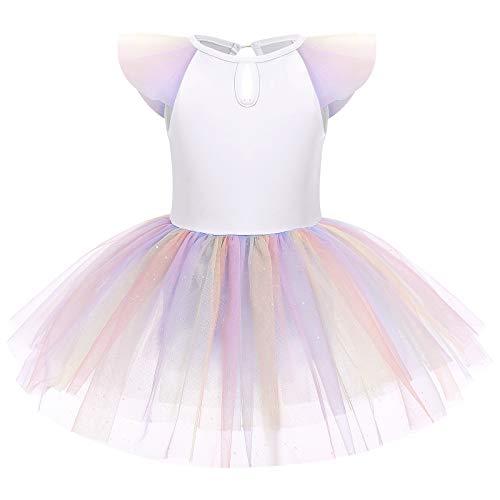 IMEKIS Vestido de ballet con lentejuelas para nias y nias, con manga de mosca, tut, falda de algodn, maillot de danza, para bailarina, disfraz de bailarina