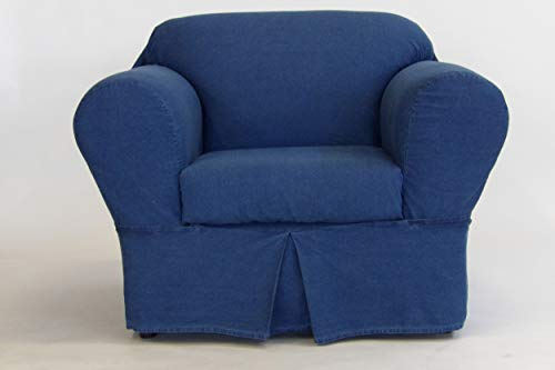Classic Slipcovers 2 Piece Washed Chair slipcover, Denim Blue