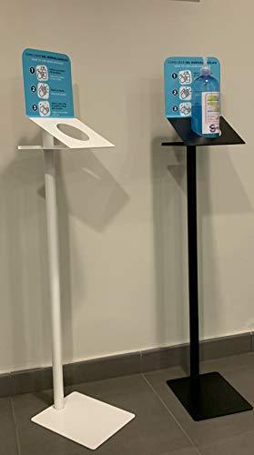 Soporte dispensador de pie para gel desinfectante,  jabones de mano ,  botellas higiénicas. Columna metálica específica para oficinas,  fábricas,  centros comerciales,  restaurantes. Fabricado en España