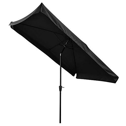 Yescom 10x 6,5pies (2x 3m) al Aire Libre Patio Paraguas de Aluminio Rectangular w/polialgodón de Mercado sombrilla de manivela inclinable jardín Negro