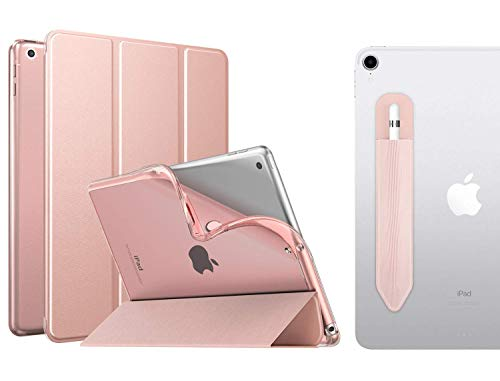 MoKo Case Fit New iPad 10.2 2019 (10.2 inch) - iPad 7th Generation 2019 Case with Apple Pencil Holder, Soft TPU Translucent Frosted Back Cover Slim Smart Shell, Auto Wake/Sleep - Rose Gold