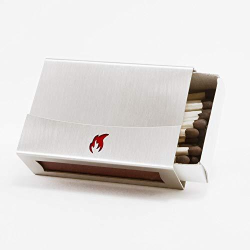 Streichholzschachtel-Hülle aus Edelstahl mit Flamme