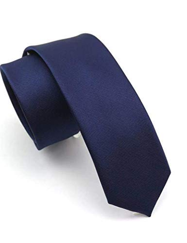 JEMYGINS 2.4' Navy Tie Silk Skinny Ties for Men Slim Necktie (6cm)