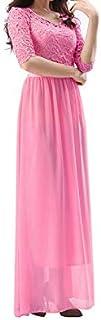 Duplus Evening Lace Dress For Women - Large, Pink