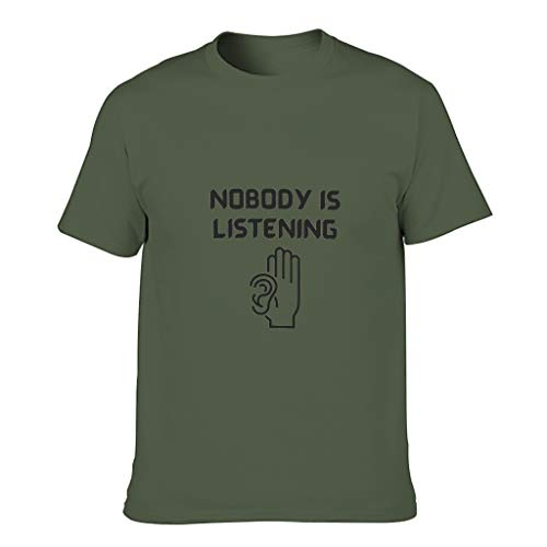 Camiseta de algodón para hombre, diseño con texto en alemán 'Niemand hört zu Coole individualidad moderna verde militar XXXXL