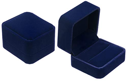 POKOFO Velvet Couple Double Ring Box Earring Jewelry Case Gift Boxes (Blue)