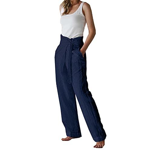 WJANYHN Pantalones Casuales De Mujer De Cintura Media con Cordones De Temperamento Informal De Moda para Mujer