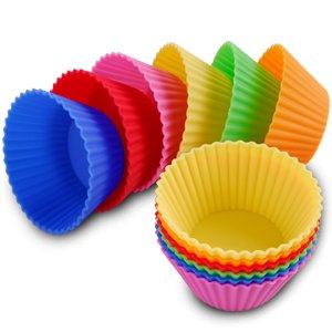 Lot 12 PCS 6 couleurs moule gateau en silicone caissette a muffin capcake