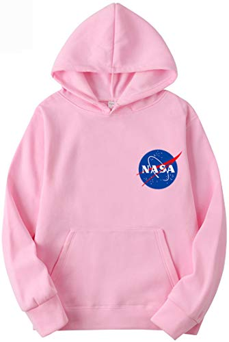 OLIPHEE Sudaderas con Capucha Color Sólido con Logo de NASA para Fanáticos de Aeroespacial para Hombre
