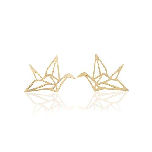 Ohrstecker Origami Crane 18karat vergoldet Ohrring Schmuck