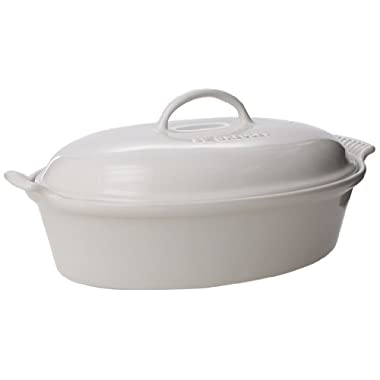 Le Creuset Stoneware 4-Quart Covered Oval Casserole, White