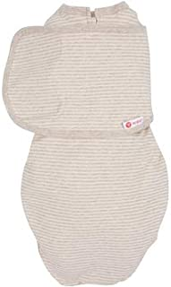embé 2-Way Organic Starter Swaddle Blanket, 5-14 lbs, Diaper Change w/o Unswaddling, Legs in and Out Design, Warm Up or Cool Down 100% Organic Cotton, 0-3 Months (Organic Oatmeal Stripe)