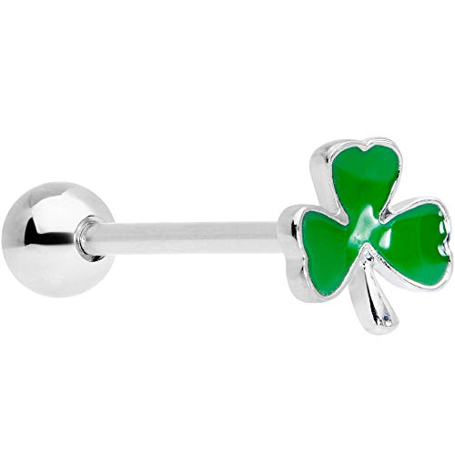 """Body Candy 14G Womens 316L Stainless Steel Green Shamrock Barbell Tongue Ring Body Piercing Jewelry 5/8"""""""