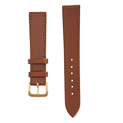 Jacksing Correa de Reloj de Cuero PU, cómoda Correa de Reloj con Hebilla de Pasador para reemplazo para Uso General para Uso Profesional para Reloj(18mm Brown)