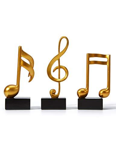 Amoy-Art 3 STK Musik Dekor Skulptur Figur Musiknote Statue Art für Klavier Geschenk Haus Andenken Giftbox Resin Gold 19cmH