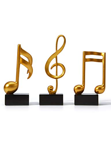 Amoy-Art 3pcs Music Decor Musical Sculpture Statue Music Note Figurine for Home Piano Gifts Souvenirs Giftbox Resin Gold19cmH