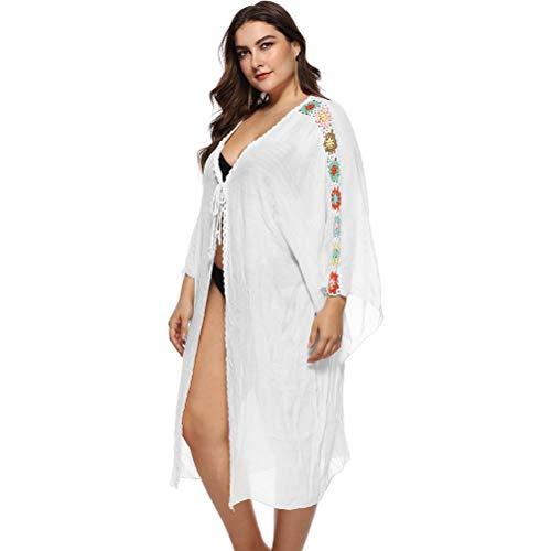 Anikigu Dames Large Size Cardigan Lace Lange mouwen, haak- en schouderstiksel Middellange zomerjurk kitteljurk, strandzonwerende rok