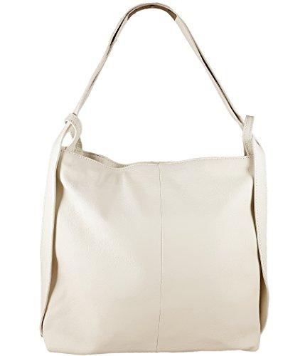 Freyday 2in1 Damen Handtasche Rucksack Designer Luxus Henkeltasche aus 100% Echtleder (Beige)