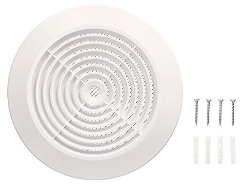 KOTARBAU® Haeusler-Shop - Rejilla de ventilación para techo (125 mm, conexión de brida/tubo, redonda), color blanco