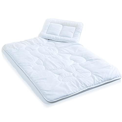 aqua-textil Soft Touch Kinder Bettdecke 100 x 135 cm Set mit Kissen 40 x 60 cm Ganzjahresdecke Mikrofaser Steppdecke