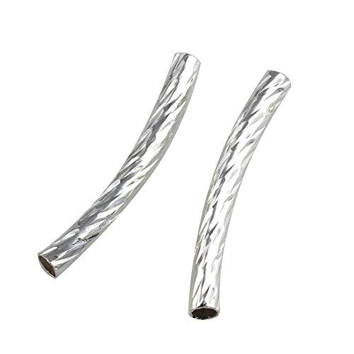 20 Röhrchen Messingröhrchen Röhre Gebogen Tube Perlen 25mm Metallröhrchen M15