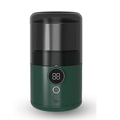 Lihuzmd Molinillo de café eléctrico, USB Recargable con Cuchillas de Acero Inoxidable de 200 W de Gran Alcance, Capacidad de 170 ml para Granos de café, Especias, nueces,Verde