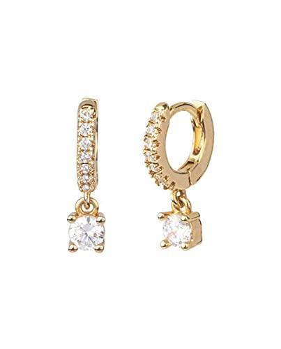 Pendientes Vidal & Vidal colección Trendy acabados en oro 18 Kt con circonita colgante