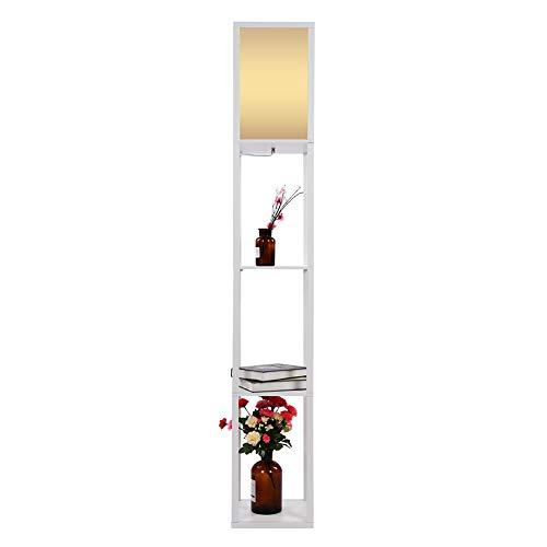 Cikonielf Lámpara de pie de Madera Estante de exhibición Decoraciones Estante para exhibir Decoraciones Álbum de Fotos con lámparas de bajo Consumo 160 x 26 x 26 cm(Blanco)
