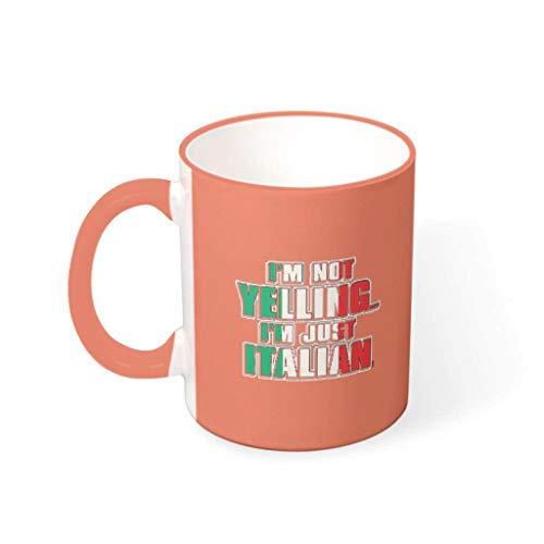 O5KFD&8 11 oz Ich Schreie Nicht, ich Bin Italiener Mug Keramik Retro Style Becher - Lustige Sprüche Urlaub Weihnachten Geschenk (Beidseitig Bedrucken) Persimmon 330ml