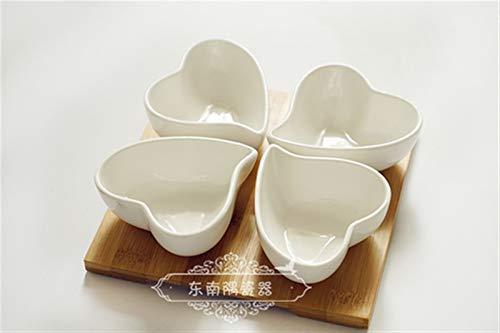KitchenPRO LQF Pura de cerámica Blanca de Tazones Bandeja de bambú Pequeño Plato Postre Placa con los Cuencos de bambú Pallet for poderlo Horno Utensilios de cocina-10.1 (Color : Heart)